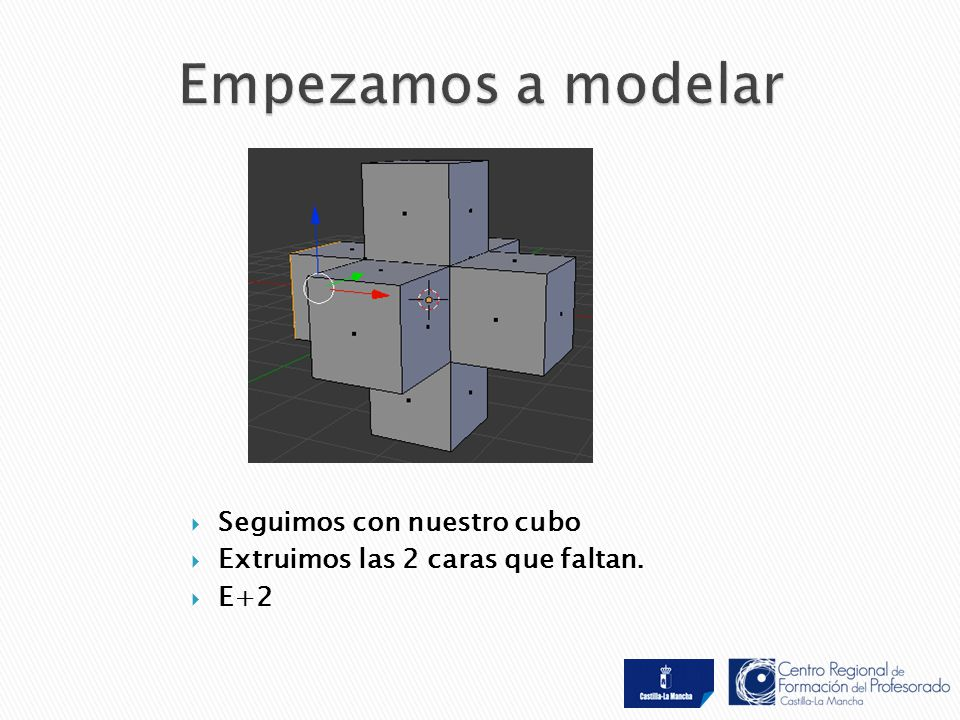  Seguimos con nuestro cubo  Extruimos las 2 caras que faltan.  E+2