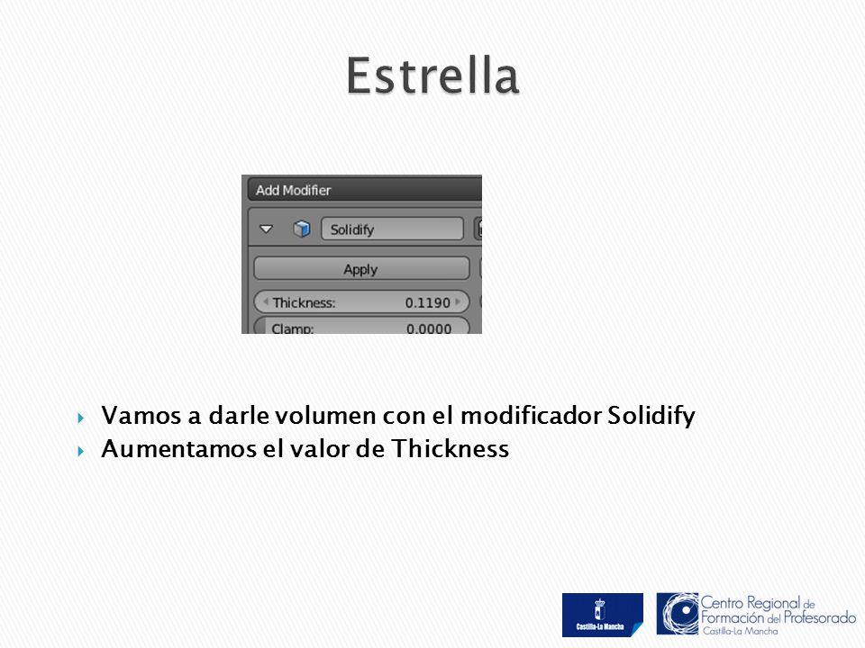  Vamos a darle volumen con el modificador Solidify  Aumentamos el valor de Thickness