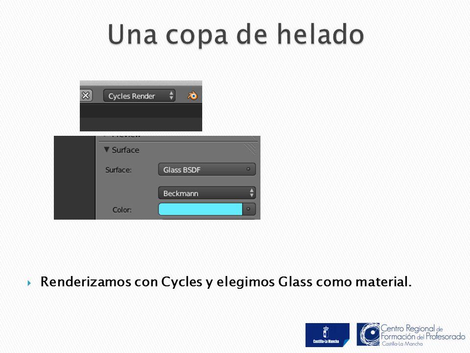  Renderizamos con Cycles y elegimos Glass como material.