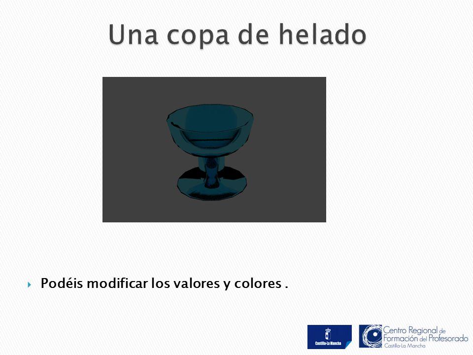  Podéis modificar los valores y colores.