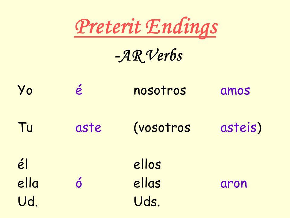 Preterit Endings Yoénosotrosamos Tuaste(vosotrosasteis) élellos ellaóellasaron Ud.Uds. -AR Verbs