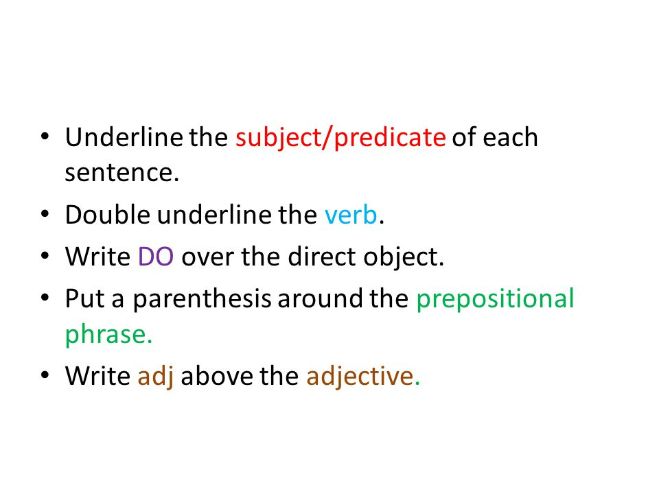 Underline the subject/predicate of each sentence. Double underline the verb.