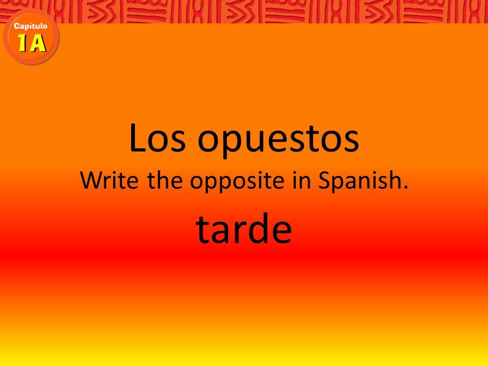 Los sinónimos Write the synonym in Spanish. Debes hacer una pregunta si no entiendes.