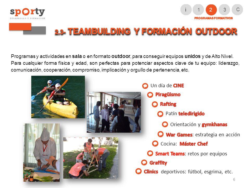Programas y actividades en sala o en formato outdoor, para conseguir equipos unidos y de Alto Nivel.