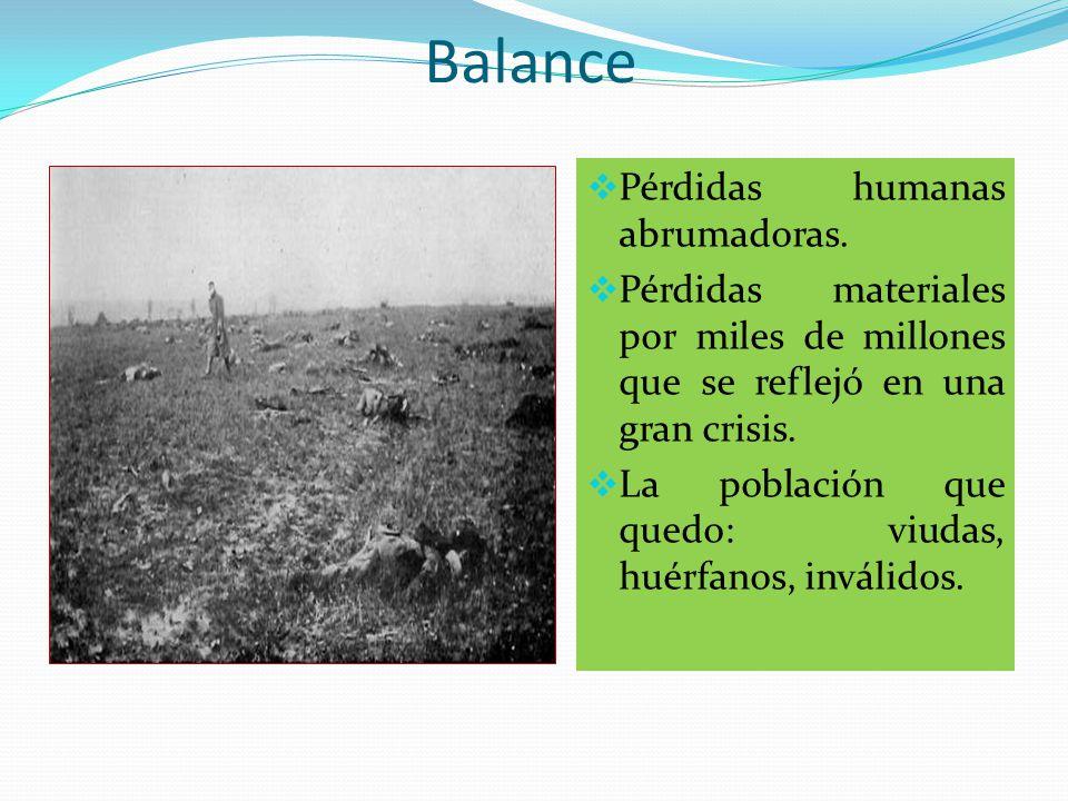 CONSECUENCIAS  BALANCE  PROPUESTAS DE PAZ  TRATADOS  BALANCE  PROPUESTAS DE PAZ  TRATADOS