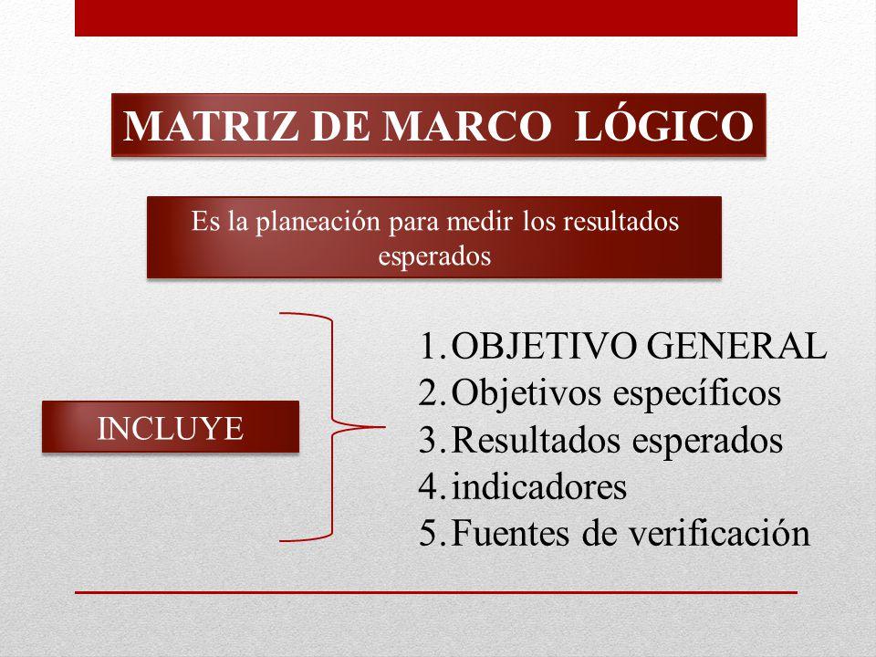 MATRIZ DE MARCO LÓGICO Es la planeación para medir los resultados esperados INCLUYE 1.OBJETIVO GENERAL 2.Objetivos específicos 3.Resultados esperados 4.indicadores 5.Fuentes de verificación