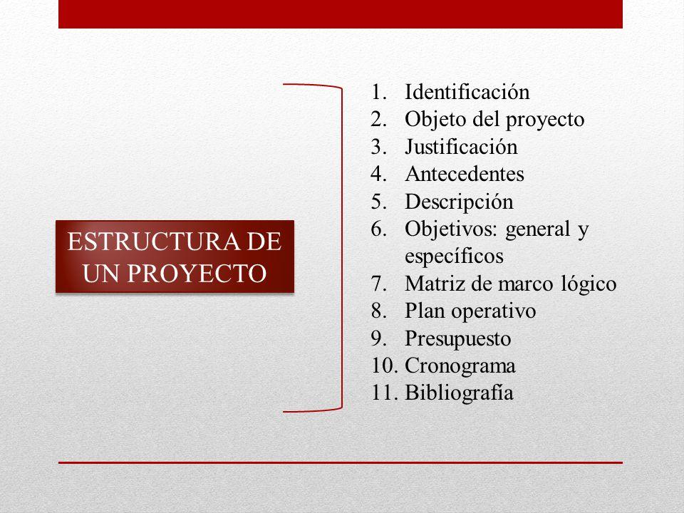 ESTRUCTURA DE UN PROYECTO 1.Identificación 2.Objeto del proyecto 3.Justificación 4.Antecedentes 5.Descripción 6.Objetivos: general y específicos 7.Matriz de marco lógico 8.Plan operativo 9.Presupuesto 10.Cronograma 11.Bibliografía