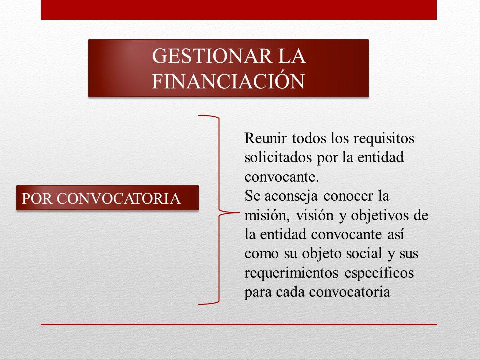 GESTIONAR LA FINANCIACIÓN POR CONVOCATORIA Reunir todos los requisitos solicitados por la entidad convocante.