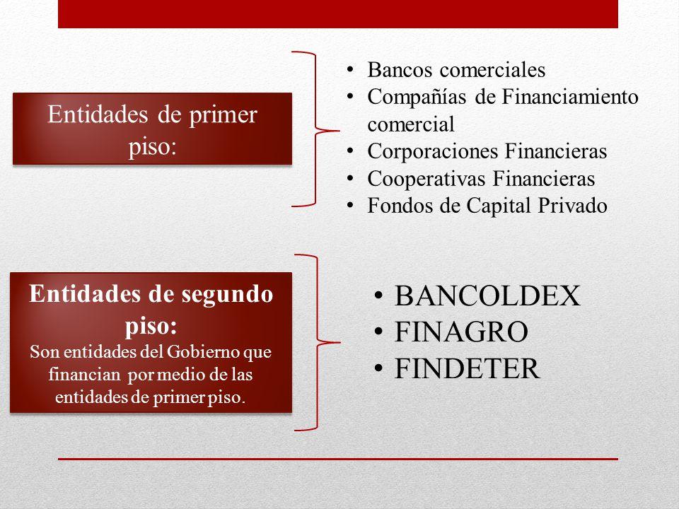 Entidades de primer piso: Bancos comerciales Compañías de Financiamiento comercial Corporaciones Financieras Cooperativas Financieras Fondos de Capital Privado Entidades de segundo piso: Son entidades del Gobierno que financian por medio de las entidades de primer piso.