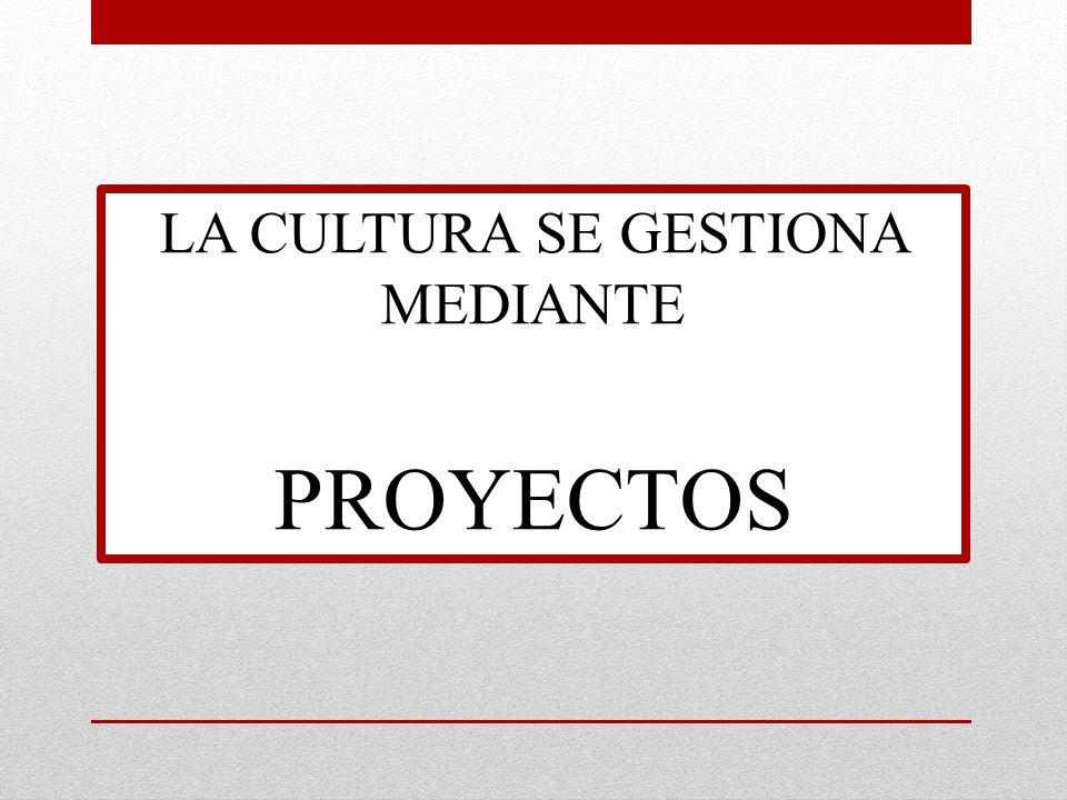 LA CULTURA SE GESTIONA MEDIANTE PROYECTOS