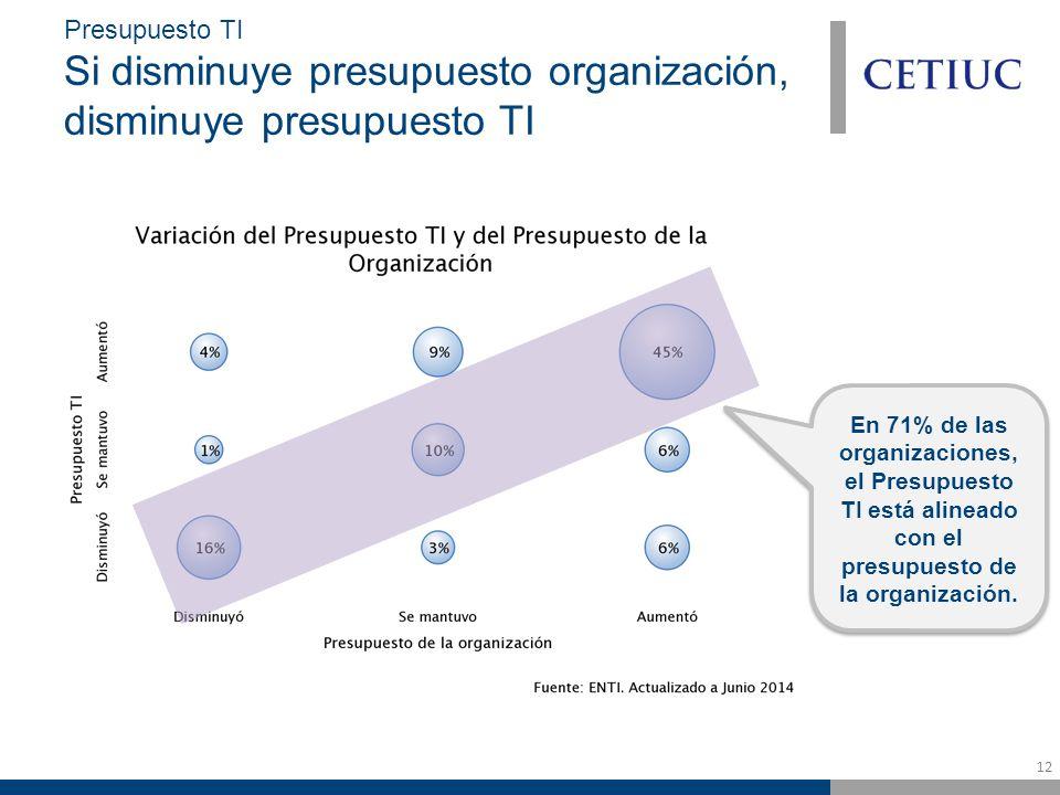 12 Presupuesto TI Si disminuye presupuesto organización, disminuye presupuesto TI En 71% de las organizaciones, el Presupuesto TI está alineado con el presupuesto de la organización.
