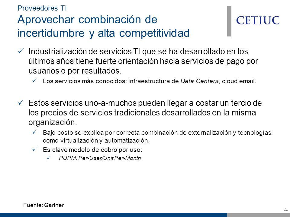21 Proveedores TI Aprovechar combinación de incertidumbre y alta competitividad Industrialización de servicios TI que se ha desarrollado en los últimos años tiene fuerte orientación hacia servicios de pago por usuarios o por resultados.
