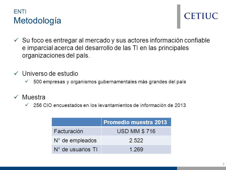 3 ENTI Metodología Su foco es entregar al mercado y sus actores información confiable e imparcial acerca del desarrollo de las TI en las principales organizaciones del país.
