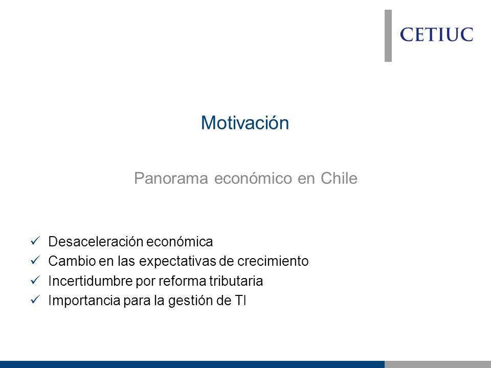 Motivación Panorama económico en Chile Desaceleración económica Cambio en las expectativas de crecimiento Incertidumbre por reforma tributaria Importancia para la gestión de TI
