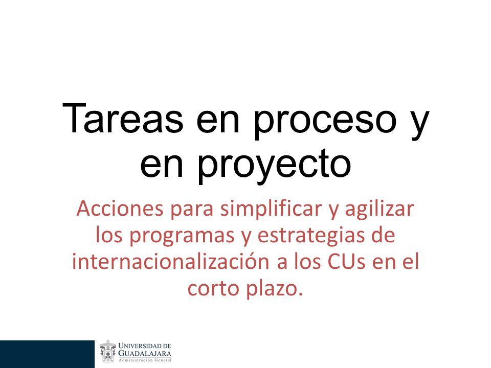 Tareas en proceso y en proyecto Acciones para simplificar y agilizar los programas y estrategias de internacionalización a los CUs en el corto plazo.