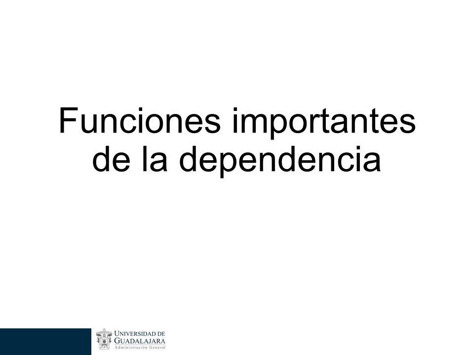 Funciones importantes de la dependencia