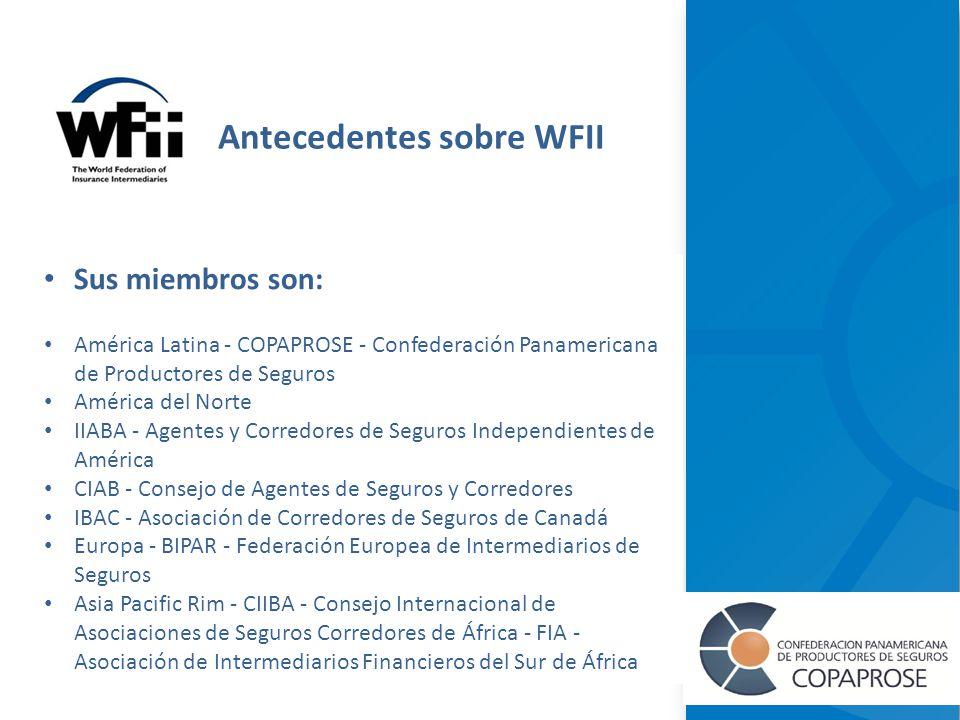 Sus miembros son: América Latina - COPAPROSE - Confederación Panamericana de Productores de Seguros América del Norte IIABA - Agentes y Corredores de Seguros Independientes de América CIAB - Consejo de Agentes de Seguros y Corredores IBAC - Asociación de Corredores de Seguros de Canadá Europa - BIPAR - Federación Europea de Intermediarios de Seguros Asia Pacific Rim - CIIBA - Consejo Internacional de Asociaciones de Seguros Corredores de África - FIA - Asociación de Intermediarios Financieros del Sur de África Antecedentes sobre WFII