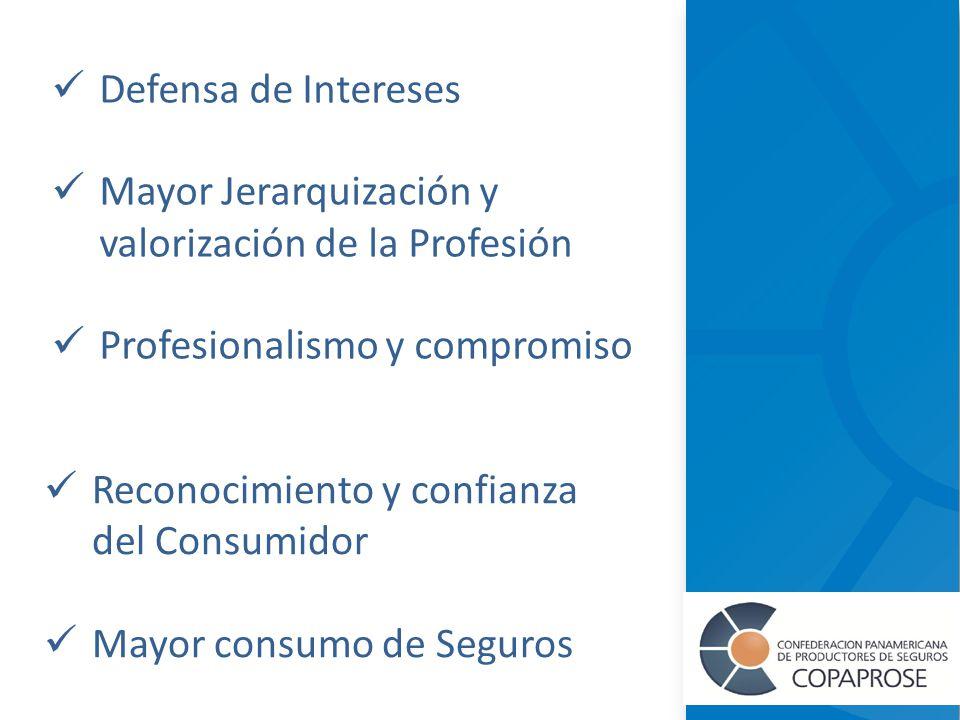 Defensa de Intereses Mayor Jerarquización y valorización de la Profesión Profesionalismo y compromiso Reconocimiento y confianza del Consumidor Mayor consumo de Seguros