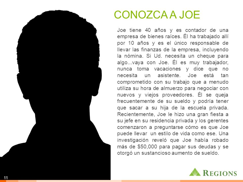 Joe tiene 40 años y es contador de una empresa de bienes raíces.