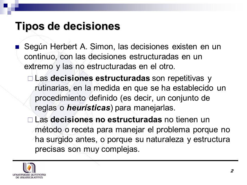 2 Tipos de decisiones Según Herbert A.