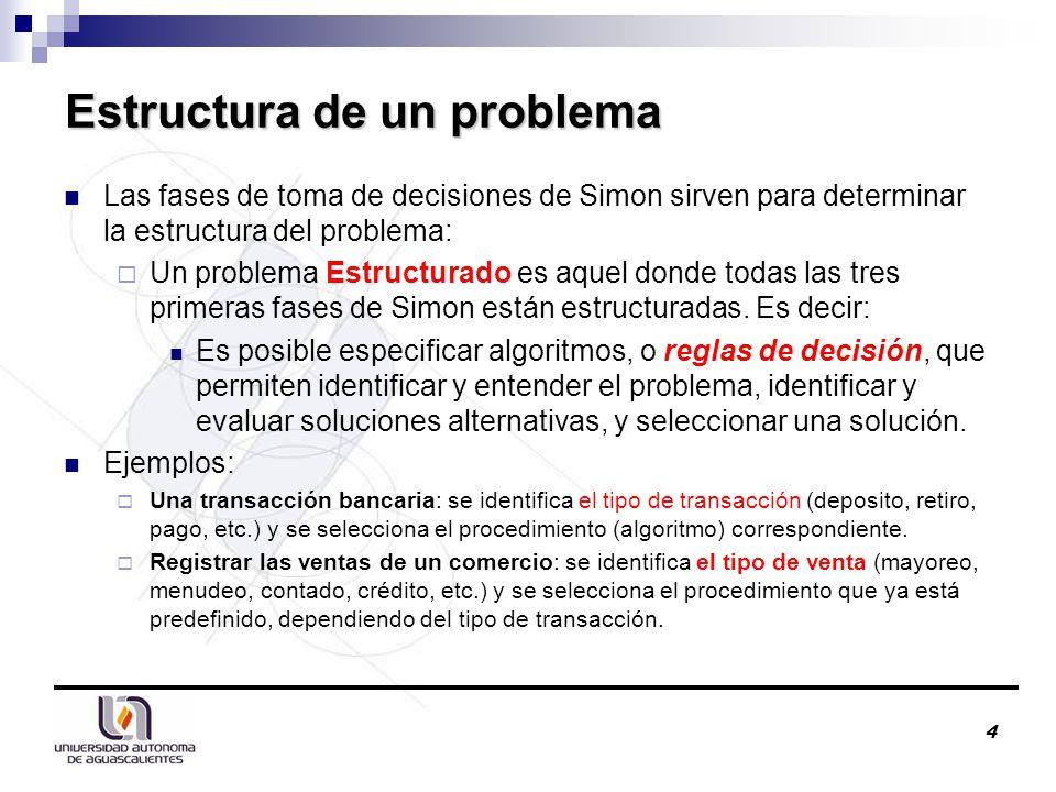 4 Estructura de un problema Las fases de toma de decisiones de Simon sirven para determinar la estructura del problema:  Un problema Estructurado es aquel donde todas las tres primeras fases de Simon están estructuradas.