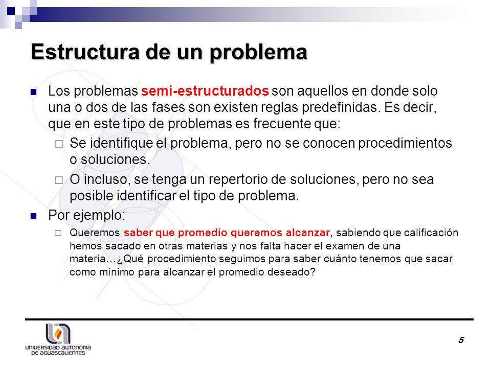 Estructura de un problema Los problemas semi-estructurados son aquellos en donde solo una o dos de las fases son existen reglas predefinidas.