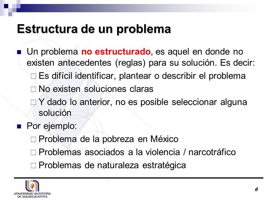 Un problema no estructurado, es aquel en donde no existen antecedentes (reglas) para su solución.