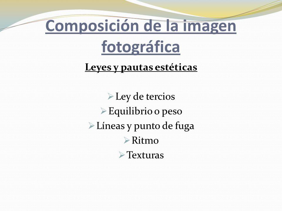 Composición de la imagen fotográfica Leyes y pautas estéticas  Ley de tercios  Equilibrio o peso  Líneas y punto de fuga  Ritmo  Texturas