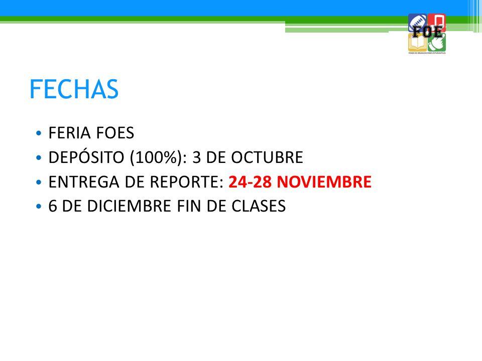 FECHAS FERIA FOES DEPÓSITO (100%): 3 DE OCTUBRE ENTREGA DE REPORTE: 24-28 NOVIEMBRE 6 DE DICIEMBRE FIN DE CLASES