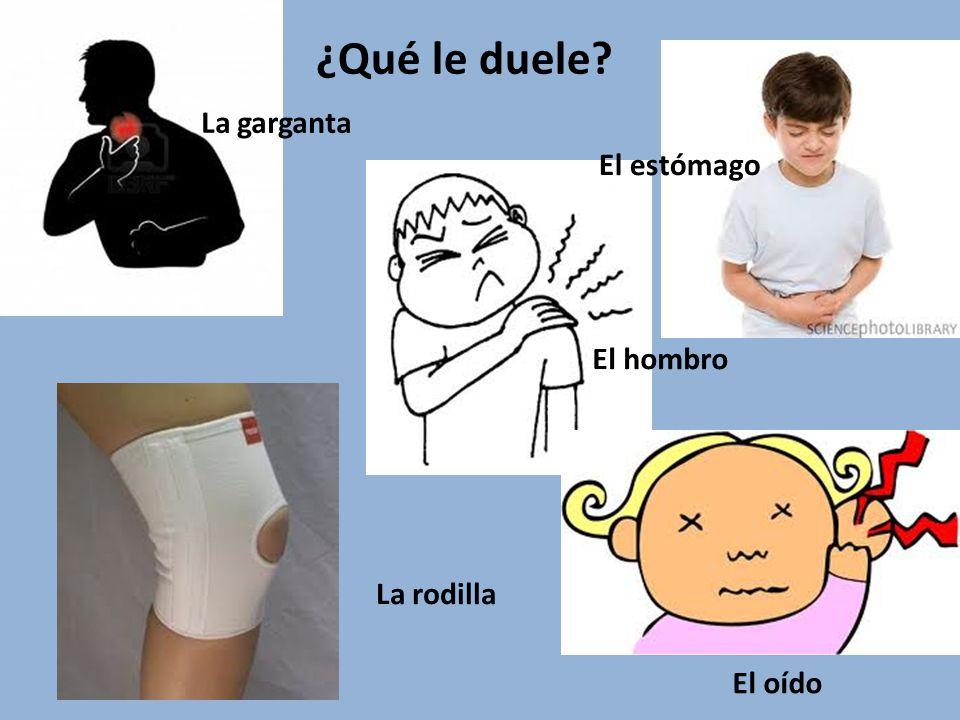 ¿Qué le duele La garganta El estómago El oído La rodilla El hombro