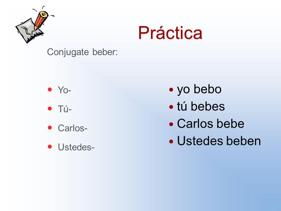 Práctica Conjugate beber: Yo- Tú- Carlos- Ustedes- yo bebo tú bebes Carlos bebe Ustedes beben