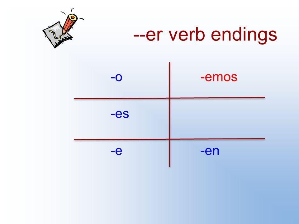 --er verb endings -o-emos -es -e-en