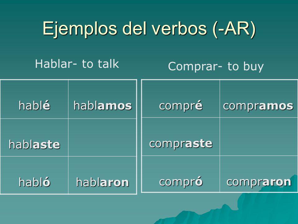 Ejemplos del verbos (-AR) hablé hablamos hablaste habló hablaron Hablar- to talk compré compramos compraste compró compraron Comprar- to buy