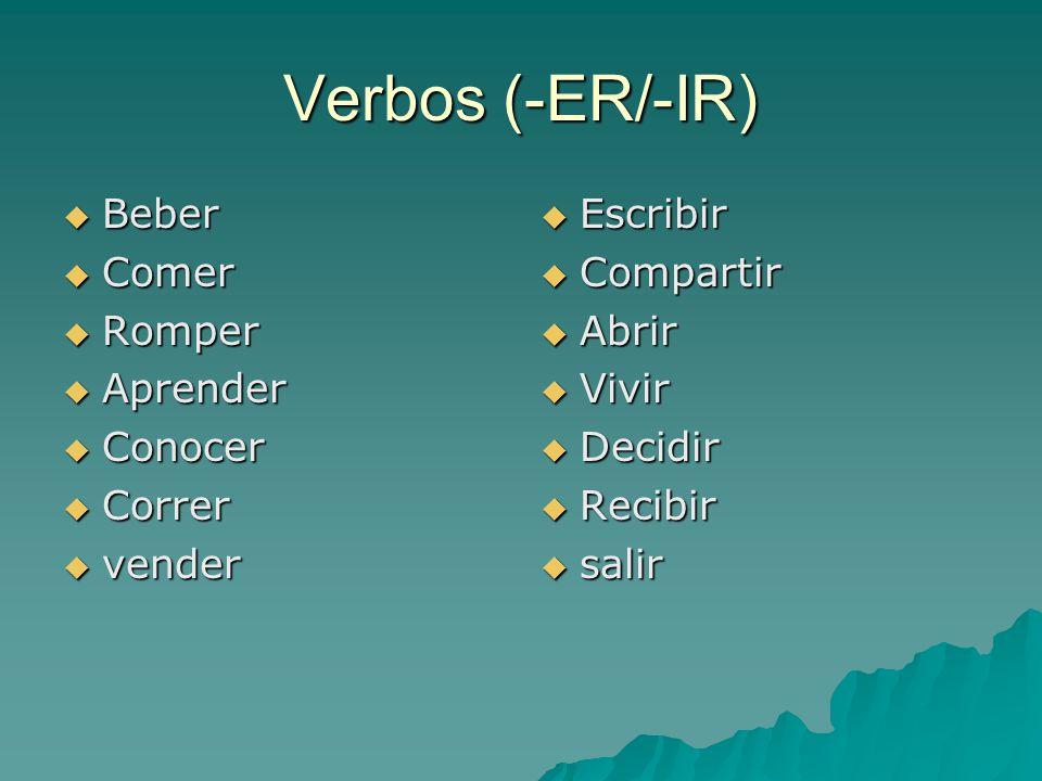 Verbos (-ER/-IR)  Beber  Comer  Romper  Aprender  Conocer  Correr  vender  Escribir  Compartir  Abrir  Vivir  Decidir  Recibir  salir