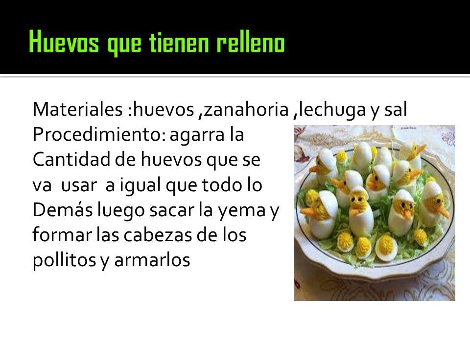 Materiales :huevos,zanahoria,lechuga y sal Procedimiento: agarra la Cantidad de huevos que se va usar a igual que todo lo Demás luego sacar la yema y formar las cabezas de los pollitos y armarlos