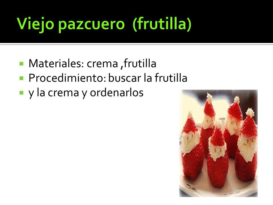  Materiales: crema,frutilla  Procedimiento: buscar la frutilla  y la crema y ordenarlos