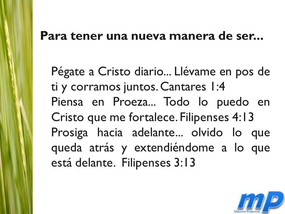 Pégate a Cristo diario... Llévame en pos de ti y corramos juntos.