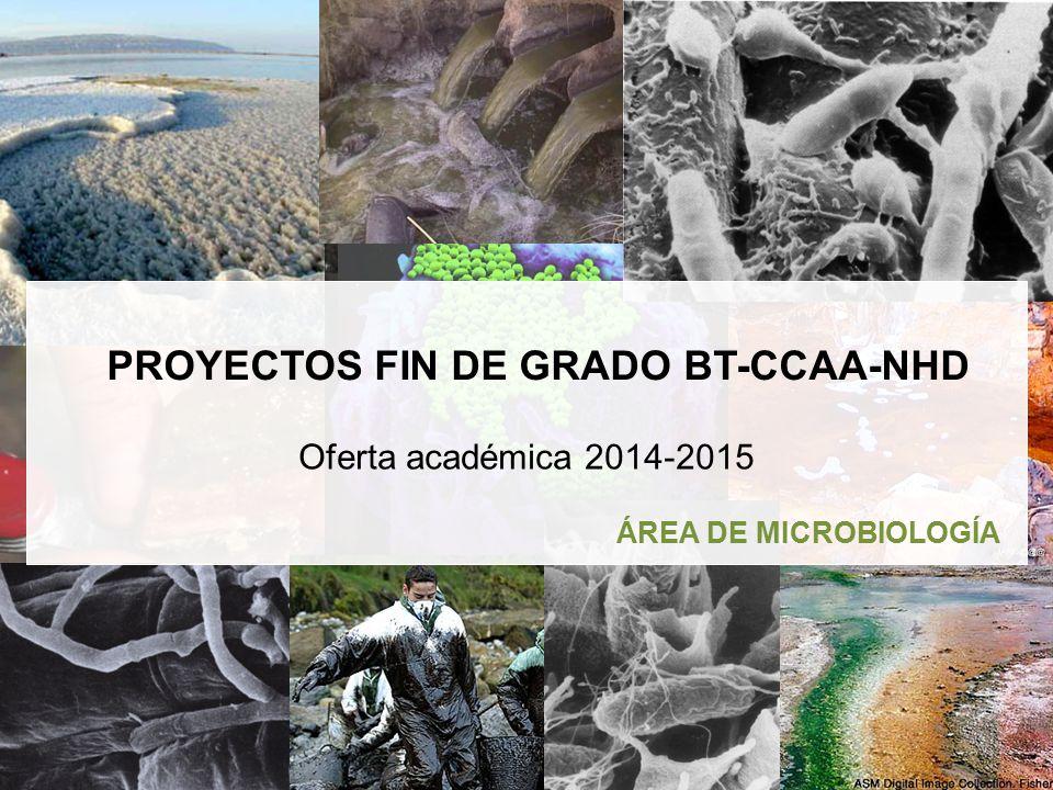 1 ÁREA DE MICROBIOLOGÍA Oferta académica 2014-2015 PROYECTOS FIN DE GRADO BT-CCAA-NHD
