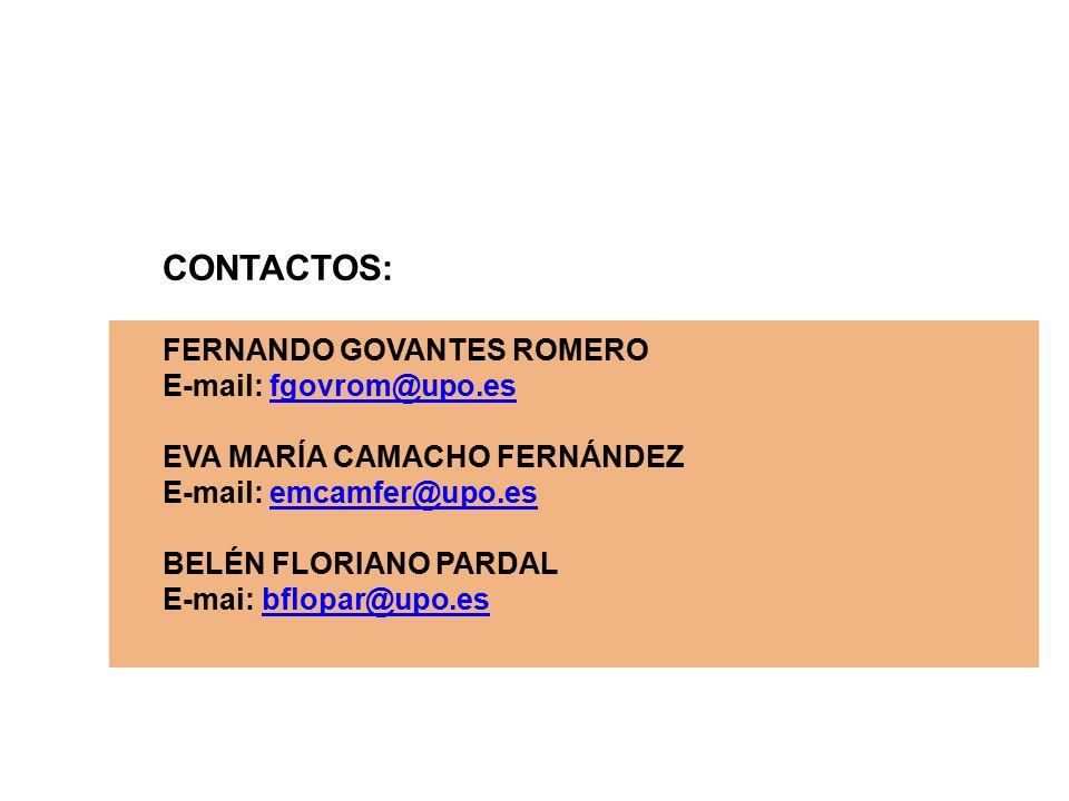 CONTACTOS: FERNANDO GOVANTES ROMERO E-mail: fgovrom@upo.esfgovrom@upo.es EVA MARÍA CAMACHO FERNÁNDEZ E-mail: emcamfer@upo.esemcamfer@upo.es BELÉN FLORIANO PARDAL E-mai: bflopar@upo.esbflopar@upo.es