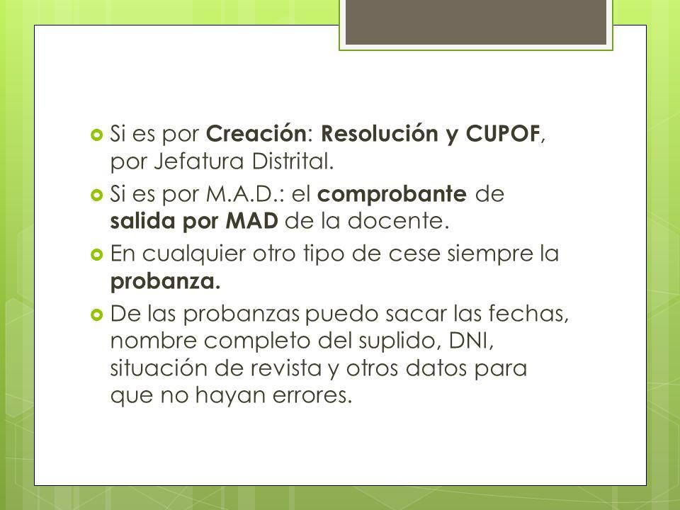 Si es por Creación : Resolución y CUPOF, por Jefatura Distrital.