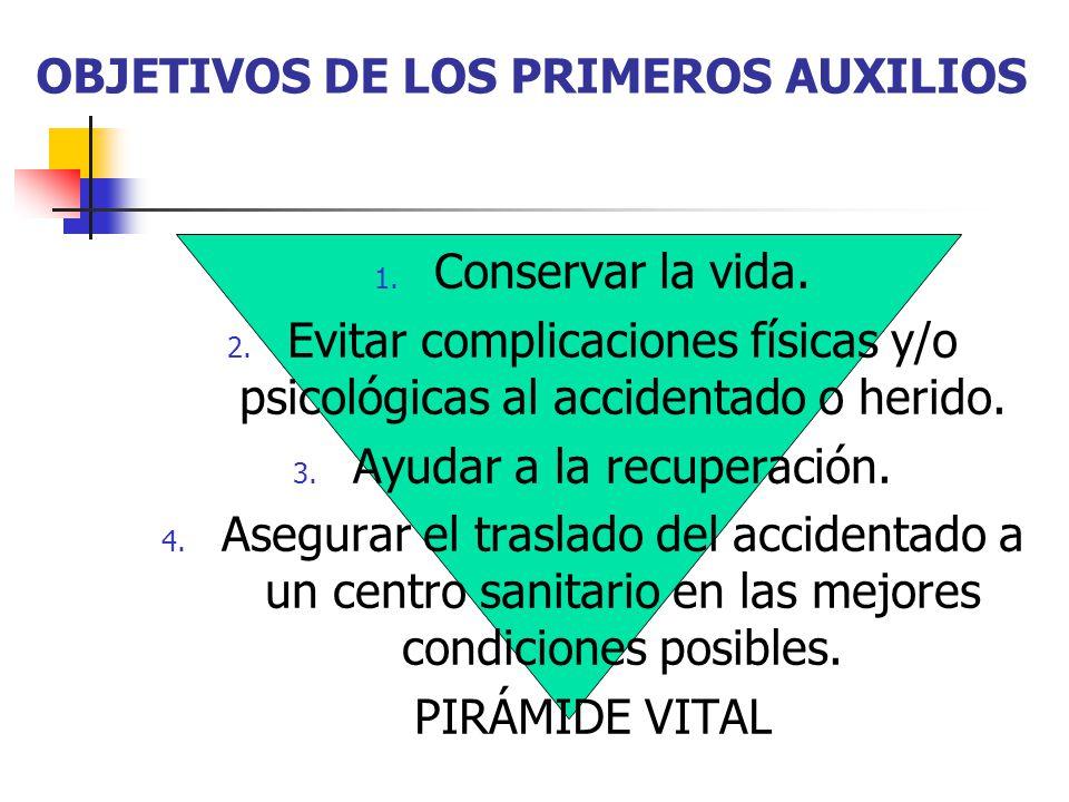 OBJETIVOS DE LOS PRIMEROS AUXILIOS 1. Conservar la vida.