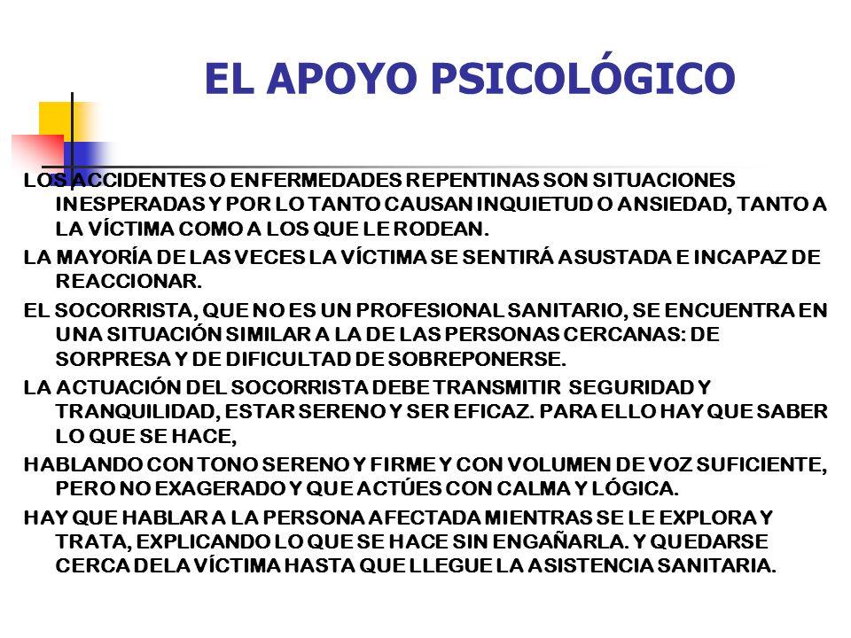 EL APOYO PSICOLÓGICO LOS ACCIDENTES O ENFERMEDADES REPENTINAS SON SITUACIONES INESPERADAS Y POR LO TANTO CAUSAN INQUIETUD O ANSIEDAD, TANTO A LA VÍCTIMA COMO A LOS QUE LE RODEAN.