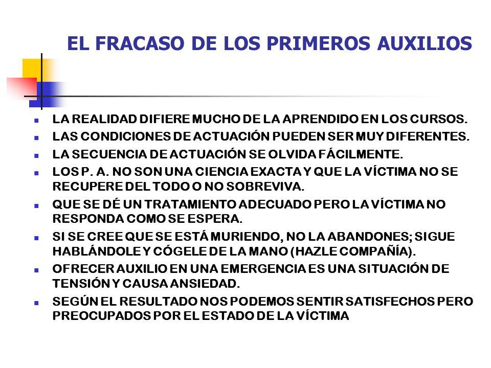 EL FRACASO DE LOS PRIMEROS AUXILIOS LA REALIDAD DIFIERE MUCHO DE LA APRENDIDO EN LOS CURSOS.
