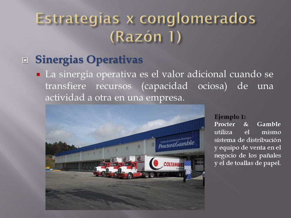  Sinergias Operativas  La sinergia operativa es el valor adicional cuando se transfiere recursos (capacidad ociosa) de una actividad a otra en una empresa.