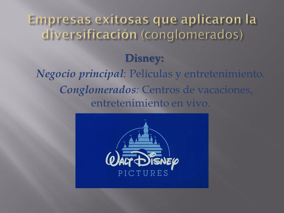 Disney: Negocio principal : Películas y entretenimiento.