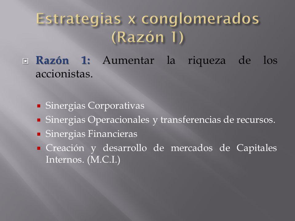 Razón 1:  Razón 1: Aumentar la riqueza de los accionistas.