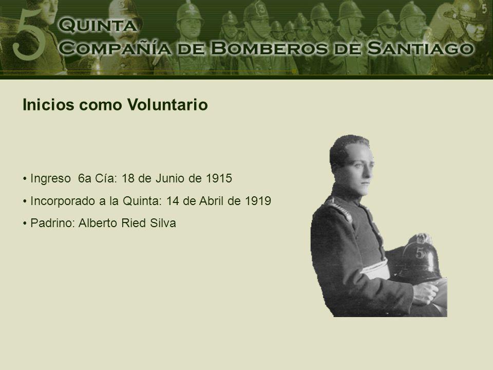 Ingreso 6a Cía: 18 de Junio de 1915 Incorporado a la Quinta: 14 de Abril de 1919 Padrino: Alberto Ried Silva Inicios como Voluntario