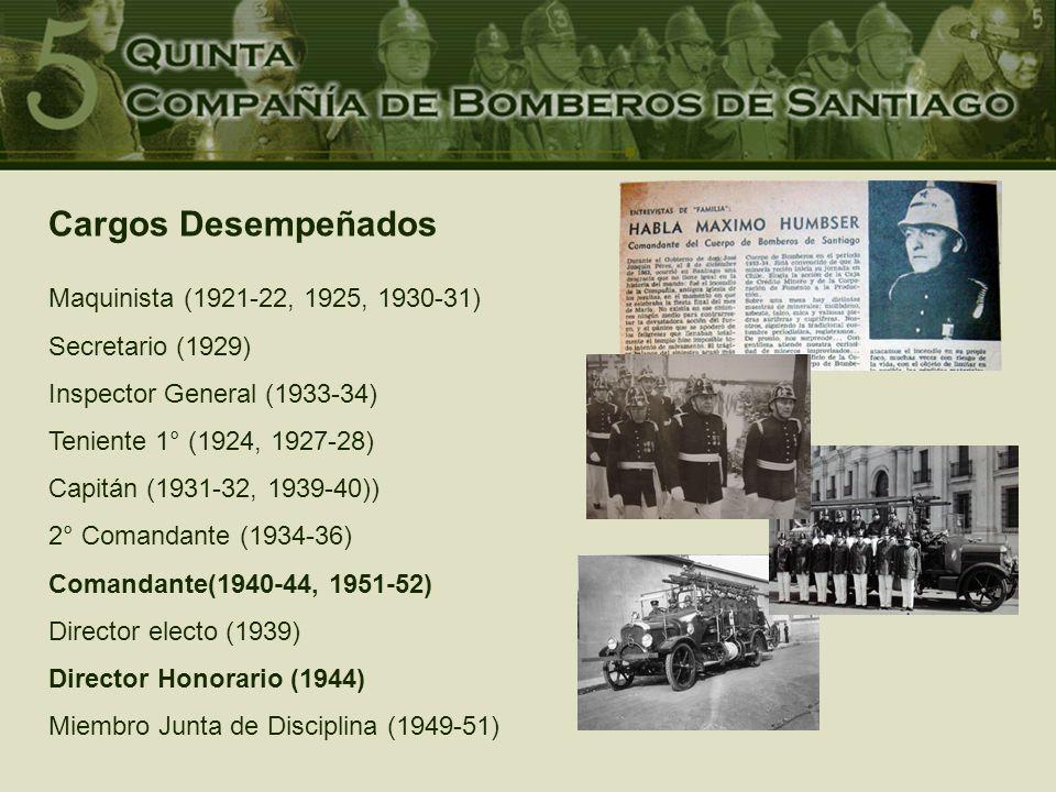 Cargos Desempeñados Maquinista (1921-22, 1925, 1930-31) Secretario (1929) Inspector General (1933-34) Teniente 1° (1924, 1927-28) Capitán (1931-32, 1939-40)) 2° Comandante (1934-36) Comandante(1940-44, 1951-52) Director electo (1939) Director Honorario (1944) Miembro Junta de Disciplina (1949-51)