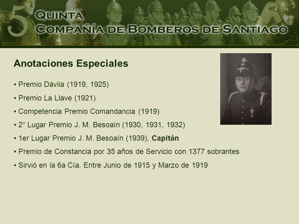 Anotaciones Especiales Premio Dávila (1919, 1925) Premio La Llave (1921) Competencia Premio Comandancia (1919) 2° Lugar Premio J.