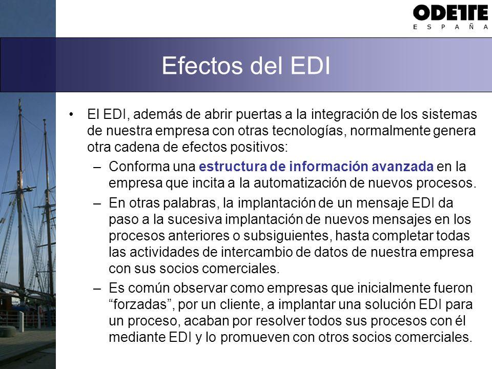 Efectos del EDI El EDI, además de abrir puertas a la integración de los sistemas de nuestra empresa con otras tecnologías, normalmente genera otra cadena de efectos positivos: –Conforma una estructura de información avanzada en la empresa que incita a la automatización de nuevos procesos.